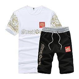 Rocky Sun Mens Summer Cotton Comfortable Shirts And Shorts 2Pcs White Black L