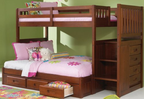 Superb Merlot Twin Over Full Mission Staircase Bunk Bed with Drawers