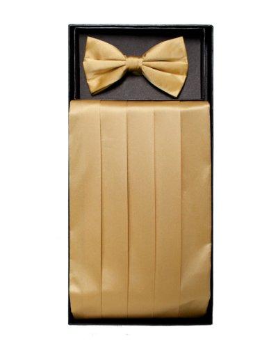 Gold Color Solid Cummerbund And Bow Tie Set