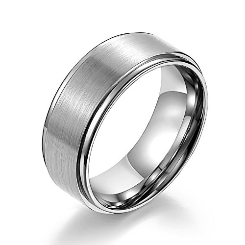 Matte Raised Center Titanium Wedding Bands with High Polish Step Edges White Couple Rings Tungsten Bands 8mm (10.5) (Platinum Wedding Band Couple compare prices)