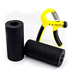 Ninja Grip Thick Bar Trainer and Hand Grip Strengthener for Obstacle Racers, Crossfit, Weight lifters, Athletes, and physical therapy