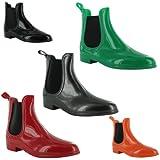 New Ladies Wellington Rain Waterproof Chelsea Ankle Boots Sizes UK 3 4 5 6 7 8