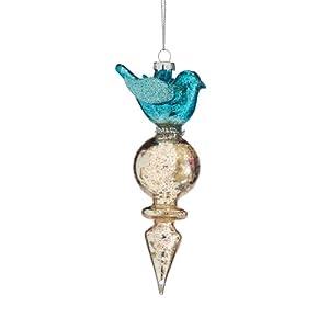Dept 56 Snow Dream Silver and Blue Glass Bird Christmas Finial Ornament #4028194