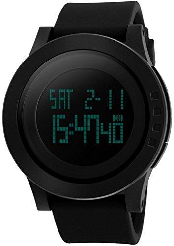 So vedere Uomo 50m impermeabile cinturino in silicone nero LCD digitale allarme cronometro orologio sportivo multifunzione, Uomo, Black