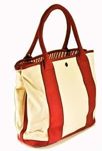 Satchels New York 5170RS Small Cream/Burgundy Tote Bag