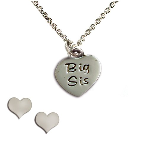 Sterling Silver Children's Big Sis Heart Charm Necklace and Earring Set for Girls in Gift Box, 14