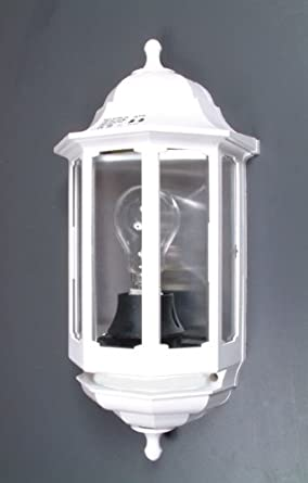 ASD 60W Half Lantern Outdoor Wall Light with PIR - White: Amazon.co.uk: Lighting