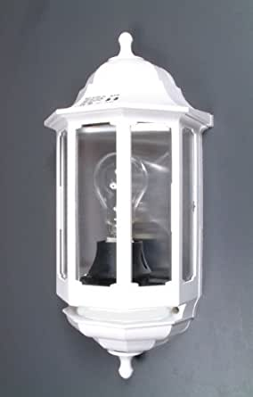ASD 60W Half Lantern Outdoor Wall Light with PIR White