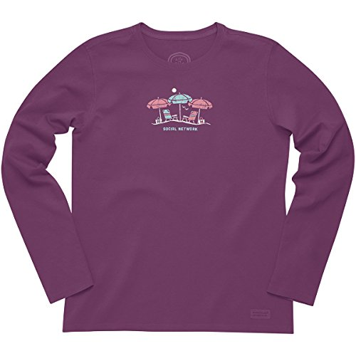 Life is good Women's Crusher Long Sleeve Social Network T-Shirt (Perfect Plum), X-Large