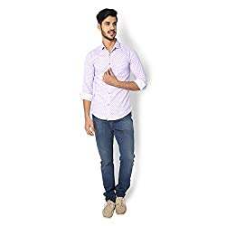 STRAK Mens' Pure Cotton Purple Dotted Designer Boat Curve Style Shirt With Full Sleeve Size:-XL/44