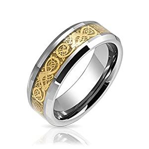 Bling Jewelry Tungsten Celtic Dragon Gold Plated Inlay Flat Fit Wedding Band
