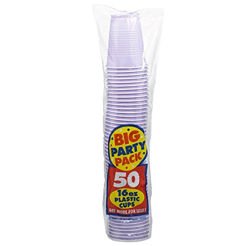 Amscan Big Party Pack 50 Count Plastic Cups, 16-Ounce, Lavender