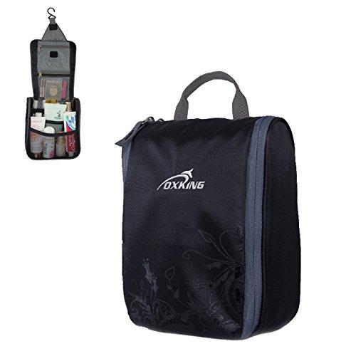 OXking - Beauty case da viaggio per uomo/donna, impermeabile, per cosmetici e prodotti d'igiene personale, con gancio nero nero 21.5cm*18cm*17.5cm