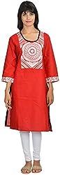 Goodyygoods Women's Cotton Regular Fit Kurti (GG 34, Red, X-Large)