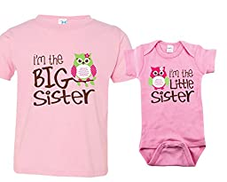 Big Sister Outfit, Little Sister Onesie with Owl, Includes Size 4 and 3-6 mo
