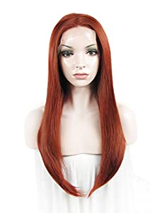 Amazing Long Straight Heat Resistant Cosplay Reddish Auburn Wig Synthetic Lace Front Wig