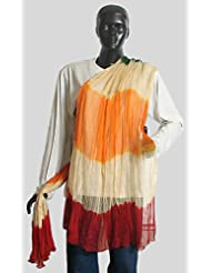 Red, Saffron And Off White Wrinkle Chunni - Chiffon