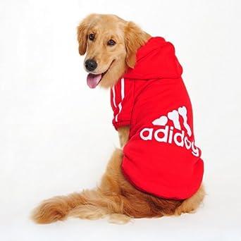 Manteau / Vêtement Hoodie pour les grands chiens Adidog (L (longueur du dos: 60-64cm), Rouge)
