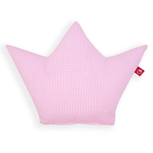 La Fraise Rouge 4251005602188 Kissen Krone Prinzessin, Vichy Karo, rosa/weiß