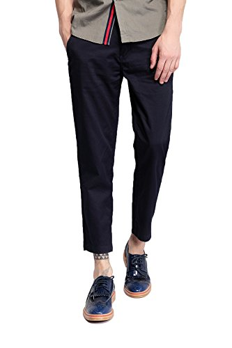 Pau1Hami1ton PH-04 Casual Ankle Length Straight Cropped Trousers Capri Men Pants (33, Blue) (Advanced Pants Hanger compare prices)