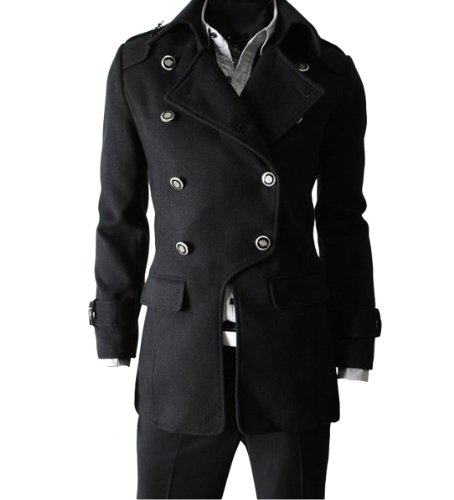 4415154f07 Real Men s Causal Luxury Fashion Faux Wool Outcoat F08 (XXL (US Large)