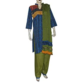 Designer Salwar Kamiz Cotton Printed Embroidered Dress Size M (slk417)