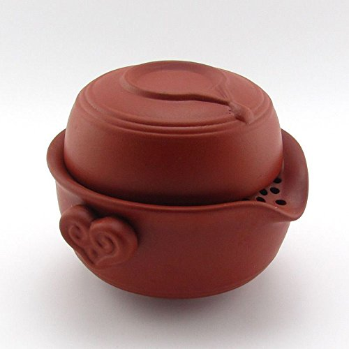 Zisha Red Stoneware Gaiwan Quick Gongfu Teapot Travel Tea Maker Cup