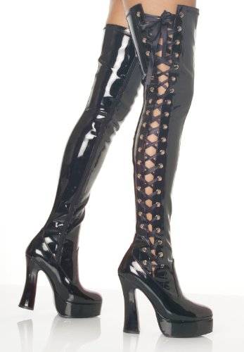 5 Inch Sexy Thigh High Boots Stack Heel 1 1/2 Inch Platform Black Stretch Patent Size: 11