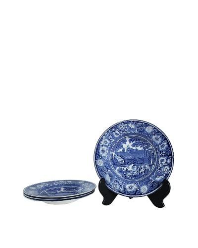 Set of 4 Rural England Blue Soup Bowls, Blue/White