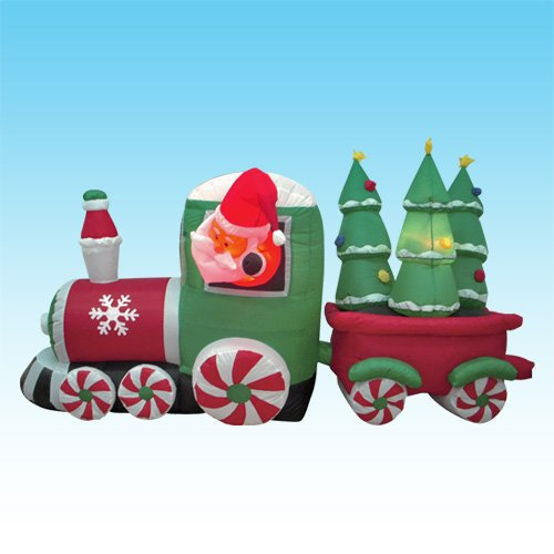 8 Foot Long Inflatable Santa Claus Driving Train