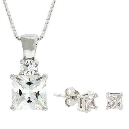 Sterling Silver Simulated Diamond cz Pendant and Earring Jewelry Set