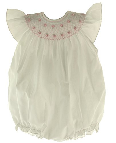 Feltman Brother Infant Girls White Pink Smocked Bubble Outfit With Pearls 9M front-781821