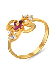 Mahi Ruby & CZ 24K Gold Plated Fashion Finger Ring For Women FR1100320G