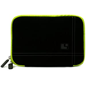"Black with Green Trim Smart Aero Protection Design Slim Soft Suede Cover Carrying Sleeve Case with Extra Accessory Back Pocket for Pandigital Nova - 7"" Media Tablet + Includes 4-inch ebigvalue Determination Hand Strap at Electronic-Readers.com"