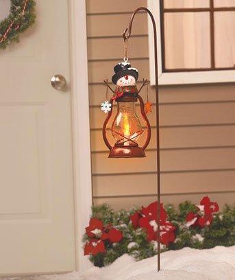 Holiday Solar Snowman Lantern Stake