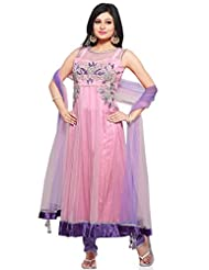 Utsav Fashion Women's Light Pink Net Anarkali Readymade Churidar Kameez-X-Small
