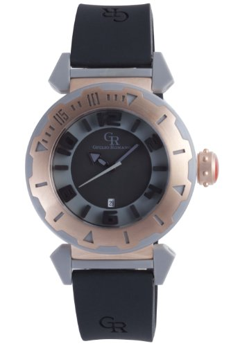 Giulio Romano Men'S Gr-5000-13-007.09 Ferrara Rose Gold Ip Rotating Bezel Black Dial Watch