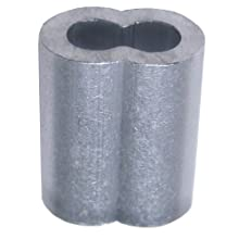 "Loos Cableware SL1-8 10 Piece Aluminum Duplex Oval Crimping Sleeve Set for 1/4"" Diameter Wire Rope"