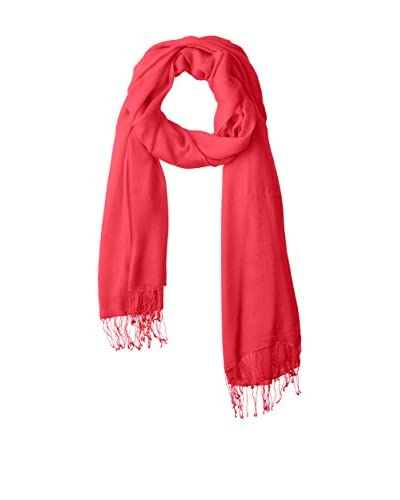 Portolano Women's Scarf with Twisted Fringe, Ribbon Red