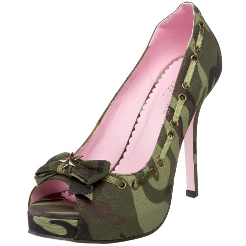 Leg Avenue Women's Army Peep Toe Pump,Camo,6 M US