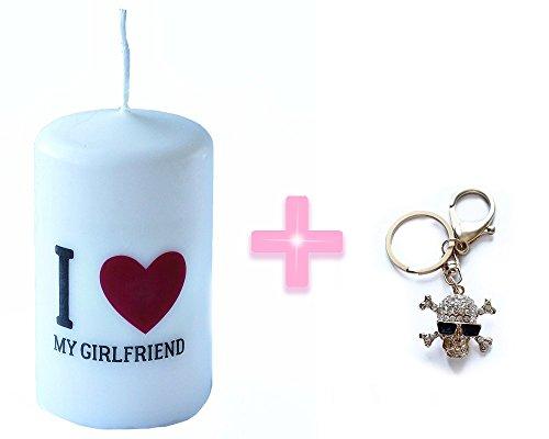 I Love My Girlfriend Candela dimensioni 6x 10cm + Color Oro teschio di strass portachiavi con ciondolo borsetta portachiavi regalo