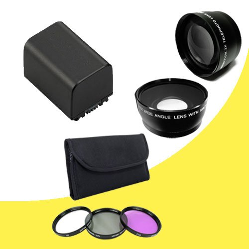 Bp-819 Lithium Ion Replacement Battery + 58Mm 3 Piece Filter Kit + 58Mm Wide Angle Lens + 58Mm 2X Telephoto Lens For Canon Vixia Hfg10 Xa10 Hfs10 Hfs20 Hfs21 Hfs30 Hfs100 Hfs200 Digital Camcorder Davismax Bp819 Accessory Bundle
