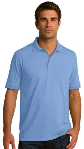 Port & Comapany Men's Big And Tall Knit Polo Jersey_Light Blue_Large Tall