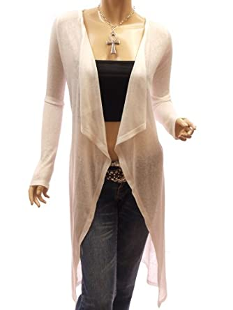 Patty Women Trendy Drape Long Sleeve Asym Hem Cardigan Top (Ivory XL)