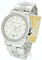 Michael Kors MK5385 Silver Tone Crystal Glitz Chronograph Womens Watch