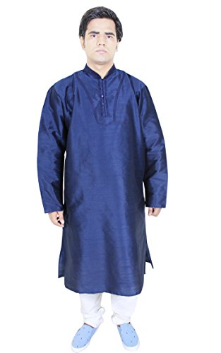 Mens Fashion Clothing Kurta Pajama Punjabi Indian Dress Costume Blue Size M