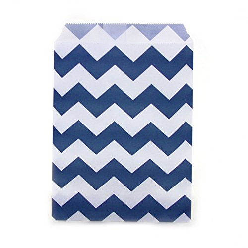 Dress My Cupcake 24-Pack Party Favor Bags, Chevron, Navy Blue (Popcorn Bag Cupcake compare prices)