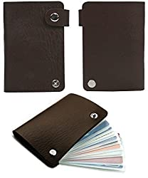 10 Slot Credit Card Wallet Style Holder with Snaps (Dark Brown)