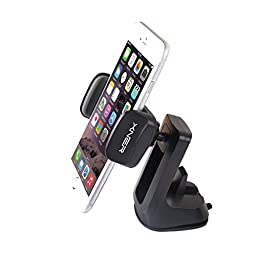 Xner 360° Swivel Car Mount Car Dashboard Universal Phone Holder for iPhone 6s Plus 6s SE Samsung Galaxy S7 Edge S6 Edge Note 5 4- Retail Packaging- Black