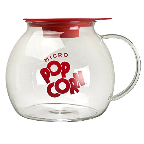 Ecolution Kitchen Extras Glass Microwave Popcorn Maker - Wide Mouth Design and Dual Function Lid - Temperature Safe Glass - Dishwasher and Microwave Safe - Glass with Red Accents - 3 Qts. (Microwave Kitchen compare prices)